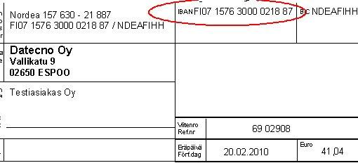 Tilinumero Iban Muodossa